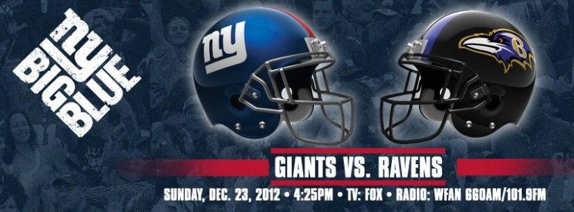 NEW YORK GIANTS vs. RAVENS - DECEMBER 23, 2012