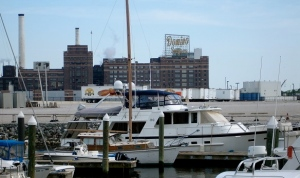 View of Baltimore's iconic Domino Sugar sign from the waterfront of Harbor East, near Cinghiale.